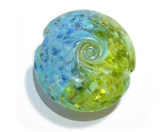 Land to Sky Jumbo Lentil Handmade Glass Lampwork Bead