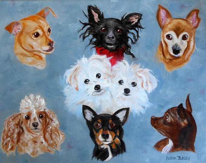 "Group Portrait of Dogs Oil Painting, 16"" x 20"" Artist Robin Zebley"