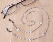 Silver eyeglasses lanyard  elegant heart link glasses chain  Everyday eyewear neck cord  Sunglasses chain  Eyeglasses holder