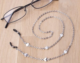 Silver eyeglasses lanyard - elegant heart link glasses chain | Everyday eyewear neck cord | Sunglasses chain | Eyeglasses holder