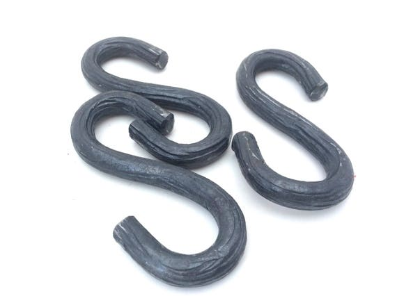 Set of three S Hooks forged from 1/4 inch branch textured steel