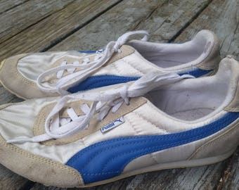 Vintage 70s 80s Blue & White Satin Puma Running Shoes Size US Women's 6