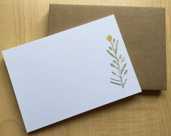 Watercolor Flat Note Stationery Set - Personalized - Blank - Wild Pepper Grass - Weed - Wildflower - Botanical Note Cards - Set of 8