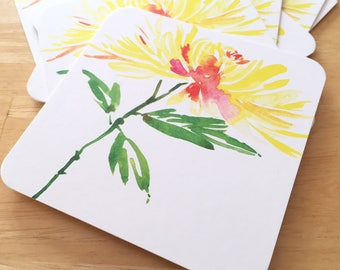 8 Watercolor Floral Coasters - Fuji Chrysanthemum Thick Paper Drink Coasters - Yellow Flower Drink Coasters - Decorative Floral Coasters