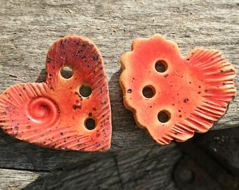 Handmade Ceramic Hearts Set of 2
