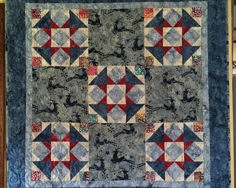 Quilted Wall Hanging - Holiday Quilt in blue red and gray, reindeer, island batik, winter, christmas quilt, pretty wall quilt or table cover