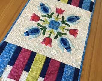 Colorful Batik Table Runner, Modern Applique, Table linens, Heirloom quilting, Quilted Table Runner, Patchwork Floral Applique,