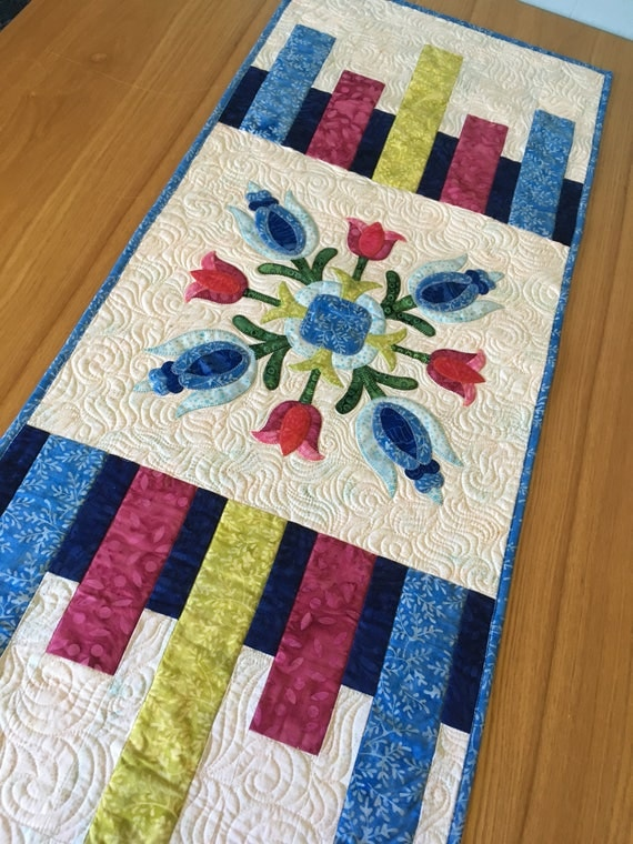 Colorful Batik Table Runner Modern Applique Table linens : quilted table linens - Adamdwight.com