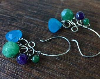 Blue Quartz, Amethyst, Green Aventurine earrings. Sterling silver Handcrafted Wire work by annemorejewelry