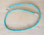 Kingman Turquoise Necklace - Seafoam Blue/Green Turquoise From Arizona - 4mm Turquoise Beads, Sterling Silver Clasp - 18 1/2 inches