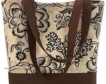 SALE Large Tote bag, handbag, brown, tan, market bag, gift for women, Dee's Designs, dee's DeeZigns