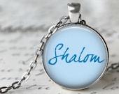 Shalom - Hanukkah pendentif, collier ou chaîne de clé - Hanoukka, collier Ḥanukah, Bonjour, paix, Judaica