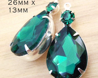 Emerald Green Glass Beads - Rhinestone Earrings or Pendants - 26mm x 13mm - Multi Stone Settings - Choose Your Color - One Pair