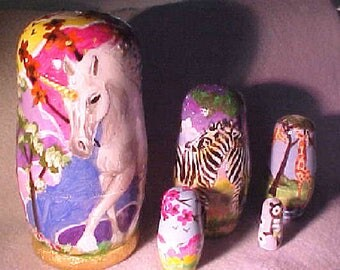 Nesting Dolls, Hand Painted Original, Unicorns, Giraffes, Zebras, Owl  by Patricia Ann Rizzo