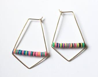 Hammered Diamond Hoop earrings with African vinyl beads
