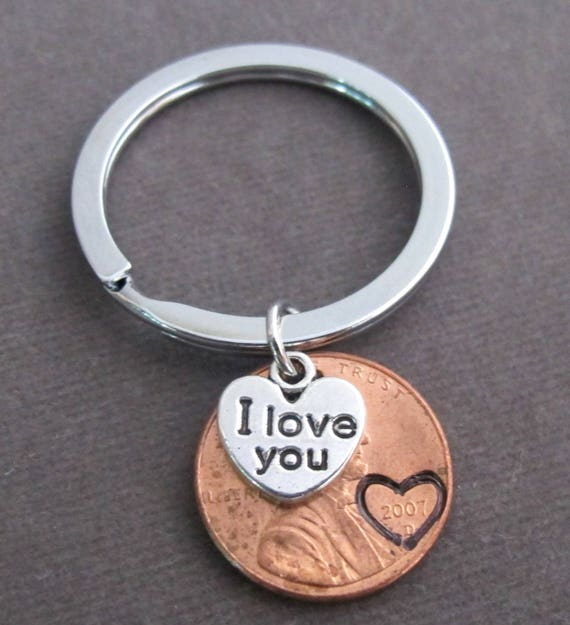I Love You Penny Keychain,Couples Key Chain,Anniversary Gift,Girlfriend,Boyfriend Keyring,Husband Wife gift,Lucky Penny,Free Shipping USA