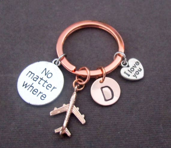 Christmas Gifts, Personalized no matter where keychain,Rose gold initial keychain, I love you keychain,Rose gold airplane ,Free Shipping USA