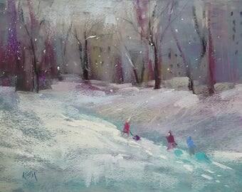 Winter Children Sledding Chicago Original Pastel Painting  Karen Margulis