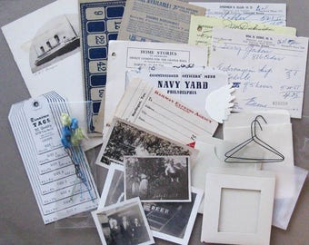 Collage package I, 27 pieces, vintage papers, photos