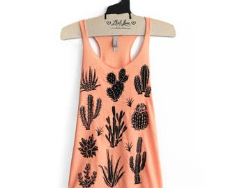 SALE Small- Tri-Blend Peach Racerback Tank with cactus Screen Print