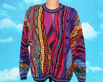 Tundra Canada Bright Mercerized Cotton Large Coogi style pullover Sweater Vintage 1980s