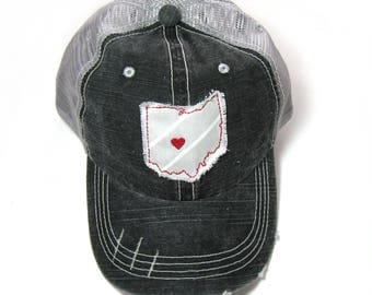 Distressed Trucker Hats - Ohio State Colors - Heart over Columbus