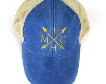 Distressed Snapback Trucker Hat - Michigan Trucker Yellow and Blue Arrow