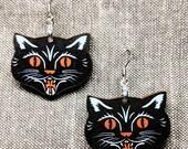 Black Cat Earrings / Handmade Earrings / Laser Cut Wood Earrings / Lucky Earrings / Animal Earrings / Occult Earrings / Halloween Earrings
