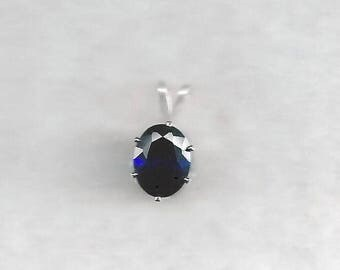 9x7mm Deep Blue Sapphire Necklace, 2.3ct AAA Blue Sapphire, 2.3ct AAA Sapphire Pendant