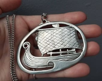 Vintage Norwegian Viking Ship Havstad Tinn Pewter Necklace