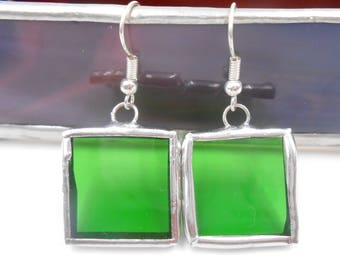 Green Square Stained Glass Earrings handmade light weight