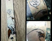 Insecure Eagle - hand-painted canvas funny bird cuff - bracelet
