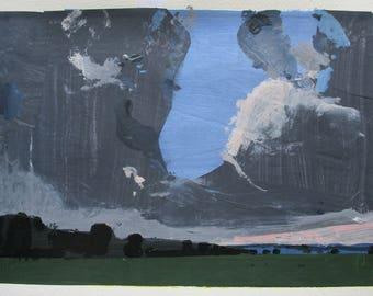 Dip, Original Summer Landscape Collage Painting on Paper, Stooshinoff