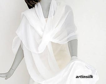 Large White Shawl Long Wide Wedding Wrap, Plus Size Bridal, Natural White Sheer Light Ivory, Wide Wedding Shawl, Plus L XL., Artinsilk