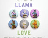 Llama Gift for Her, Coworker Gift, Cute Button Pins, Cute Llama Gifts, 6 Llama Buttons, Llama Magnets Llama Pins