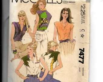 McCall's Misses' Shirt Pattern 7477