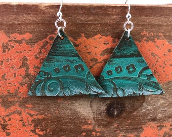Painted Leather Earrings--Triangles-Boho Earrings-Mini Canvas-Weathered Florals-