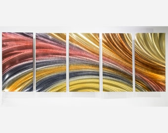 Red, Gold, Grey Contemporary Wall Sculpture, Multi Panel Modern Metal Wall Art, Home Decor, Large Abstract Painting - OOAK 853 by Jon Allen