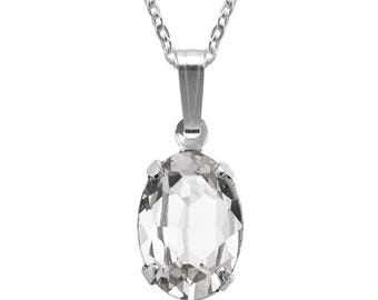 Swarovski Crystal Oval Pendant Necklace Sterling Silver Clear Crystal or CHOICE OF COLOURS