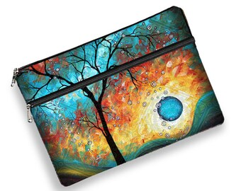 MadArt MacBook Case,iPad Pro 12.9 Case, 13 MacBook Pro Case, 13 MacBook Air Case, inch laptop sleeve, zipper pocket, Aqua Burn tree moon MTO