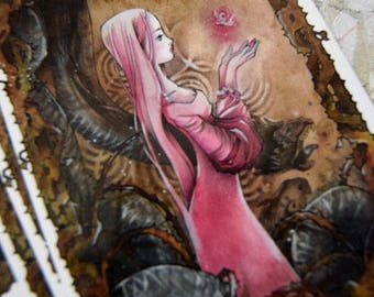 PostCard - Art Card - Fairy Tale - Anime - Fantasy Art - Dragon - Princess - Fable - The Rose Princess