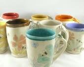 Set of 4 Unique coffee mugs, Four Save the Bees large ceramic mugs, unique coffee mugs, pottery cups,  16-20 ounce  teacups handmade mug