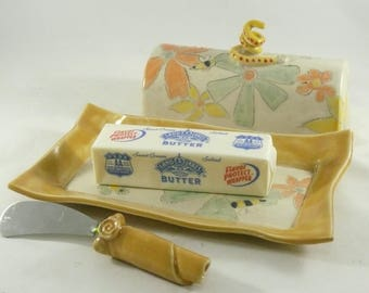 Lidded Butter Dish, Save the Bees Butter Tray with Lid, Covered Butter Dish, Butter Keeper, Butter Knife, Kitchen Storage