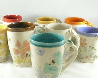 Unique coffee mugs set of four, Save the Bees large ceramic mugs, unique coffee mugs, pottery cups,  16-20 ounce  teacups handmade mug