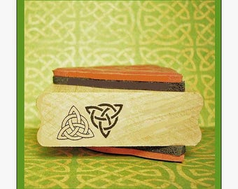 Bold Double Triquetra Rubber Stamp Celtic Knots Two Designs One Mounting #377/437