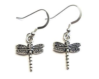 Delicate Dragonfly Earrings Silver Plated Pewter with Sterling Silver Earwires Gift Boxed
