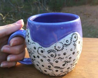 Inlaid Porcelain Mug purple black white