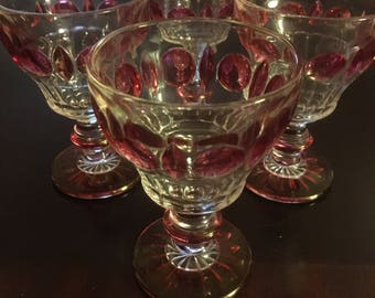 Stunning Set of 4 Indiana Glass Co. Cranberry Flash Dessert Cup