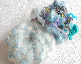 CLEARANCE - Aqua yellow yarn, great for fringe and accents, 3 ounces