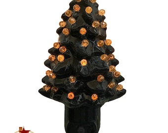 black ceramic tree night light with color globes on light sensitive automatic switch halloween decorating your - Christmas Tree Night Light